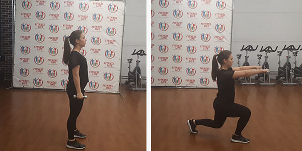 Lunges with a wave of hands in front of you